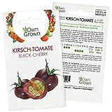 Tomatensamen Kirschtomate Black Cherry: Premium Kirschtomaten Samen zum Anbau von Tomatenpflanzen, Schwarze Tomaten Samen zur Anzucht für Balkon und Garten – 5 Gemüse Samen von OwnGrown